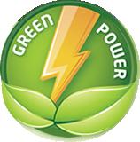 Siegel eines grünen Blattes mit Blitz und dem Text Green Power