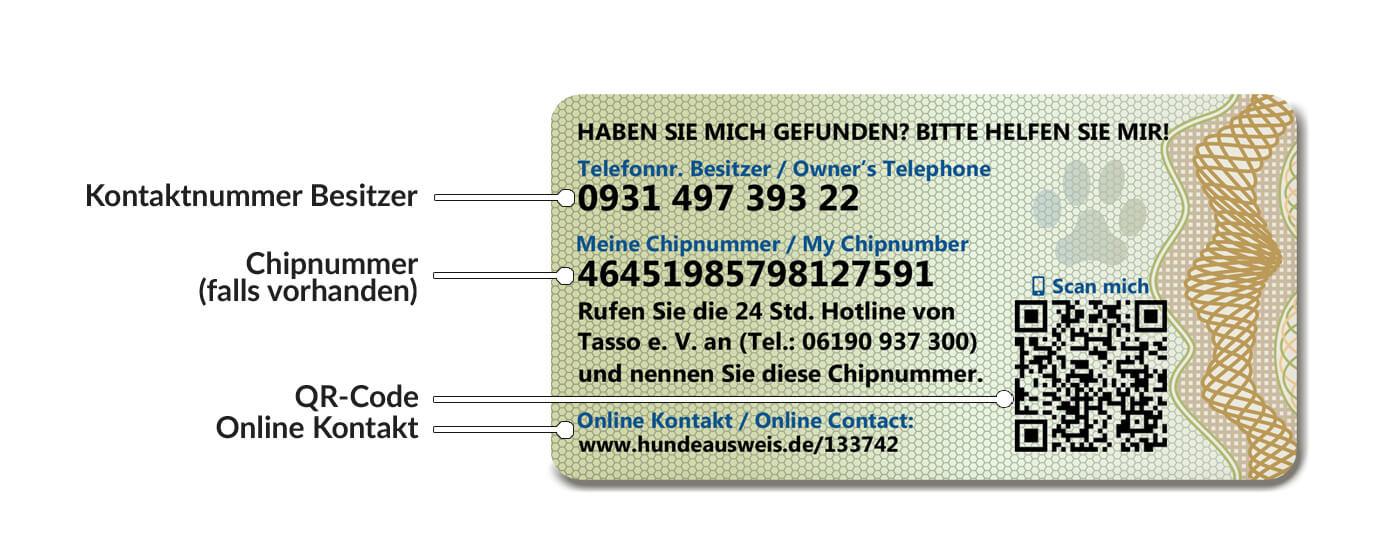 Hundeausweis Rückseite mit aufgedruckter Chipnummer, Telefonnummer des Besitzers und dem Emailkontakt